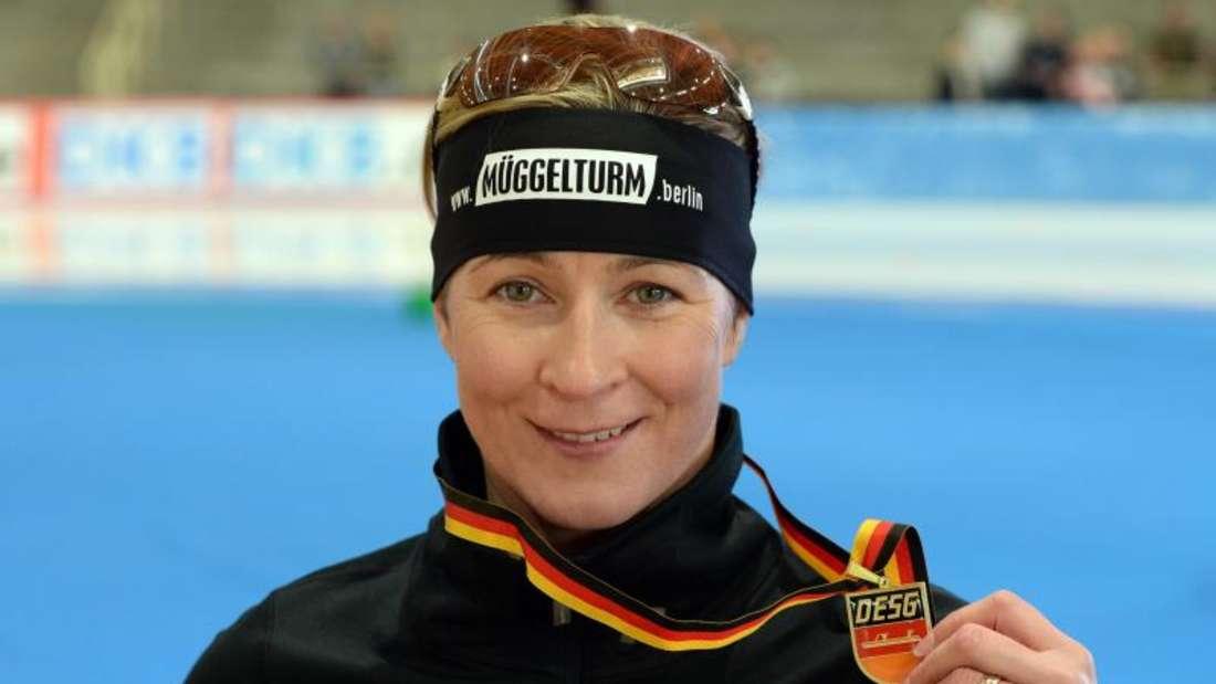 Claudia Pechstein hat über 3000 Meter gewonnen. Foto: Soeren Stache