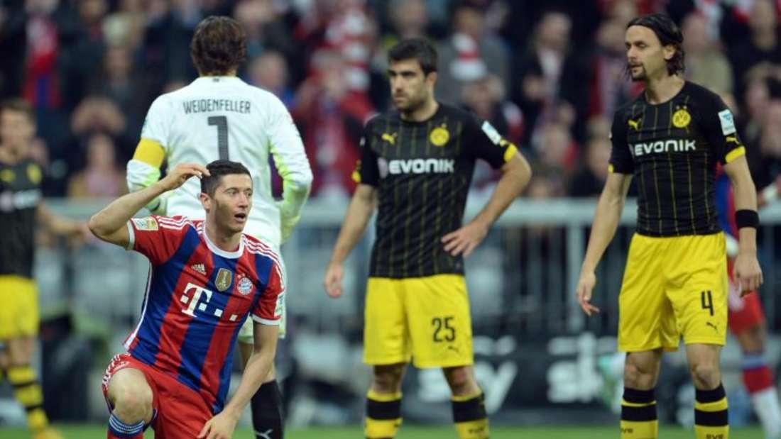 Auch der Ex-Dortmunder Robert Lewandowski scheiterte an Weidenfeller. Foto: Andreas Gebert
