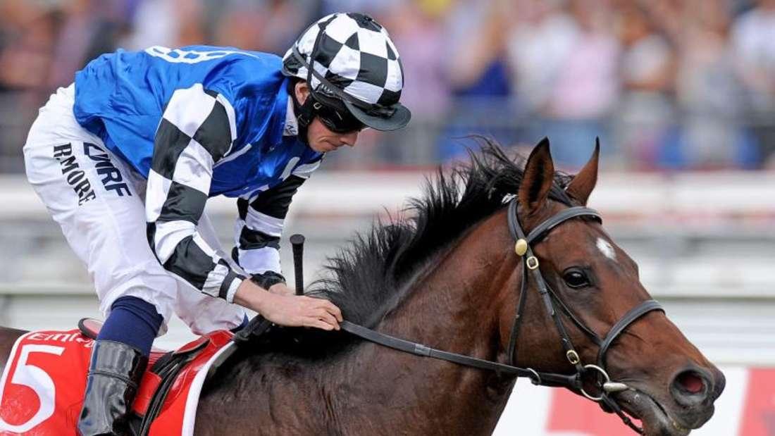 Jockey Ryan Moore siegte mit Protectionist beim Melbourne Cup. Foto:Tracey Nearmy