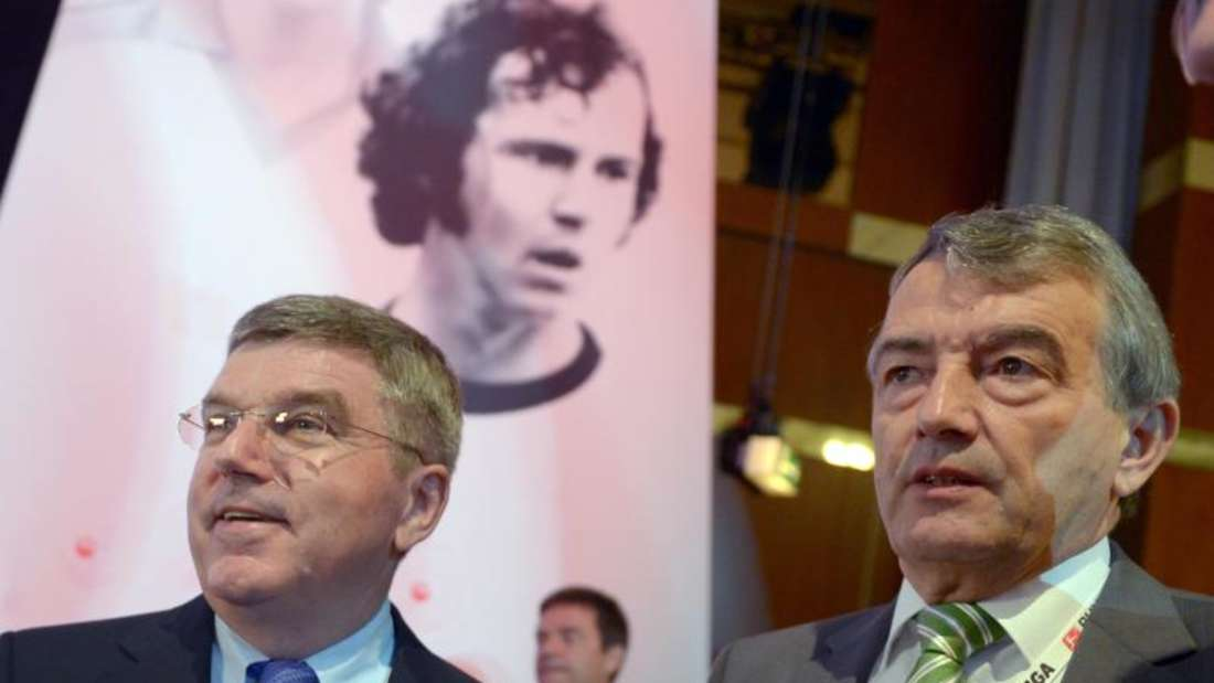 IOC-Präsident Thomas Bach (l) und DFB-Präsident Wolfgang Niersbach. Foto: Rainer Jensen