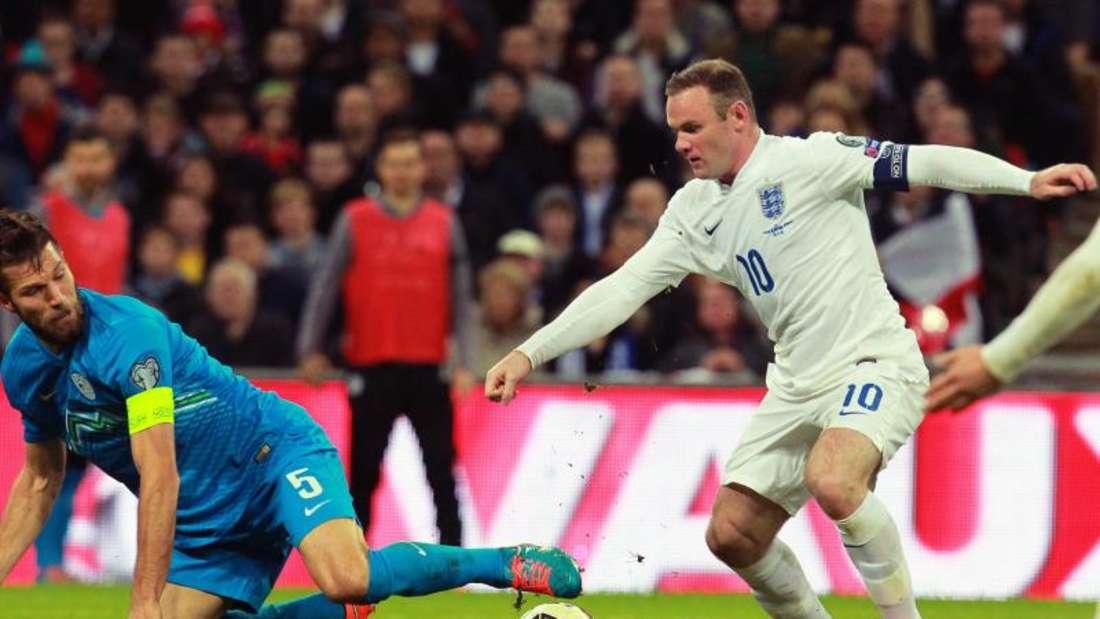 Erzielte in seinem 100. Spiel den wichtigen Ausgleich: Englands Kapitän Wayne Rooney. Foto: Sean Dempsey