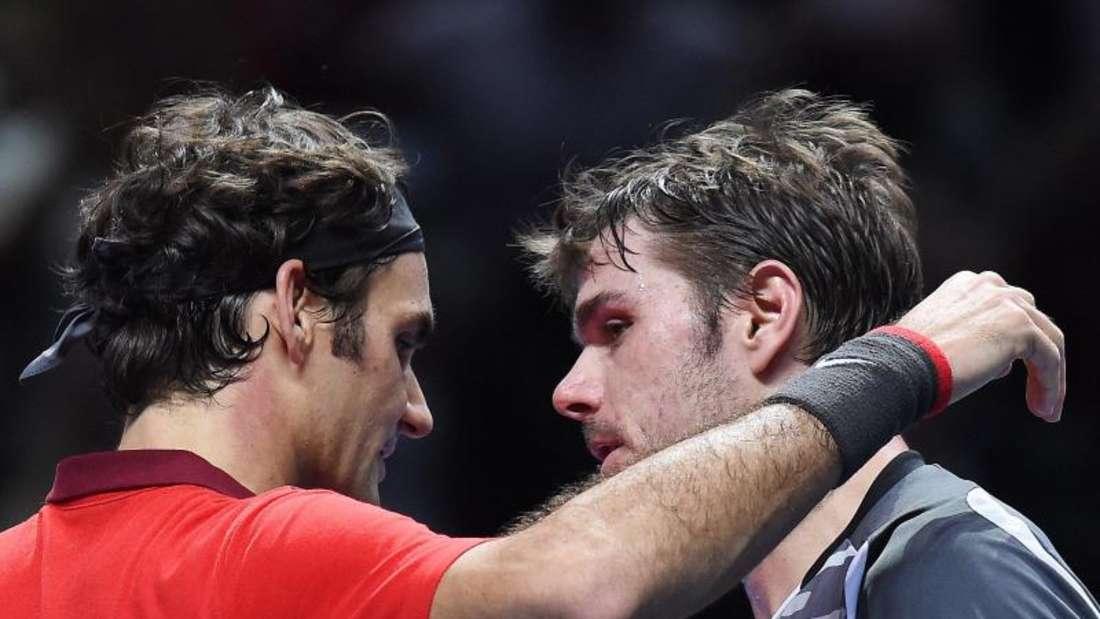 Roger Federer kämpfte seinen Schweizer Landsmann Stanislas Wawrinka in drei Sätzen nieder. Foto: Andy Rain