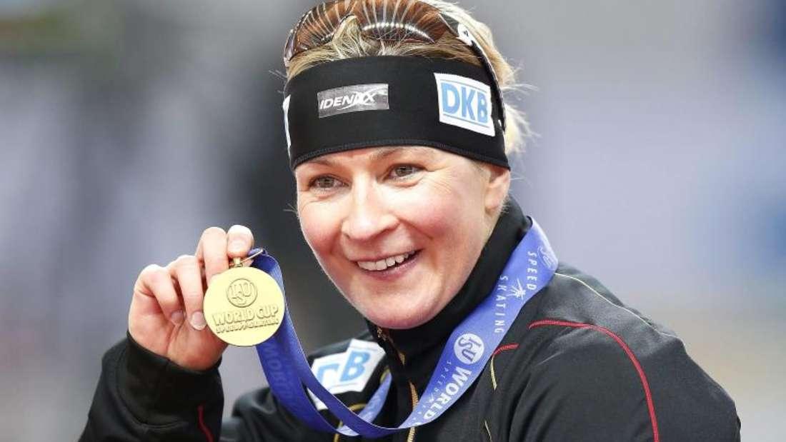 Claudia Pechstein hat in Seoul das Rennen über 5000 Meter gewonnen. Foto: Jeon Heon-Kyun