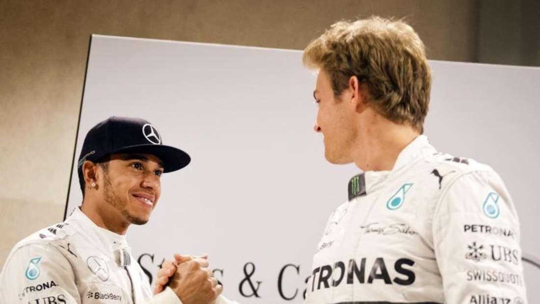 Das Duell der beiden Silberpfeil-Piloten Lewis Hamilton und Nico Rosberg geht 2015 in eine neue Runde. Foto: Daniel Naupold