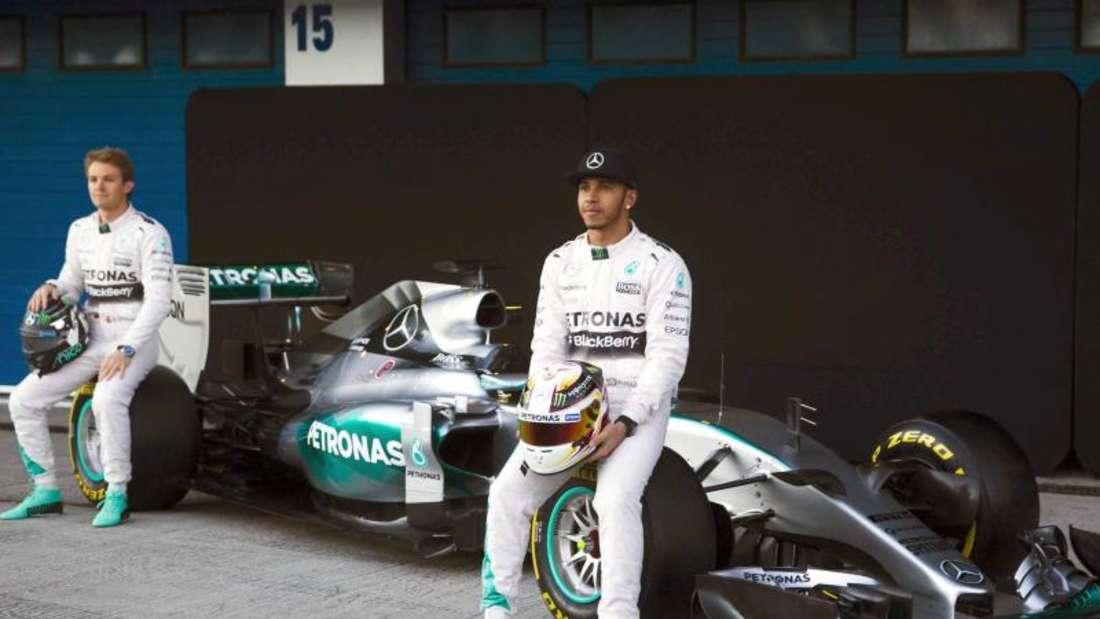 Nico Rosberg und Lewis Hamilton und ihr F1 W06. Foto: Jorge Zapata