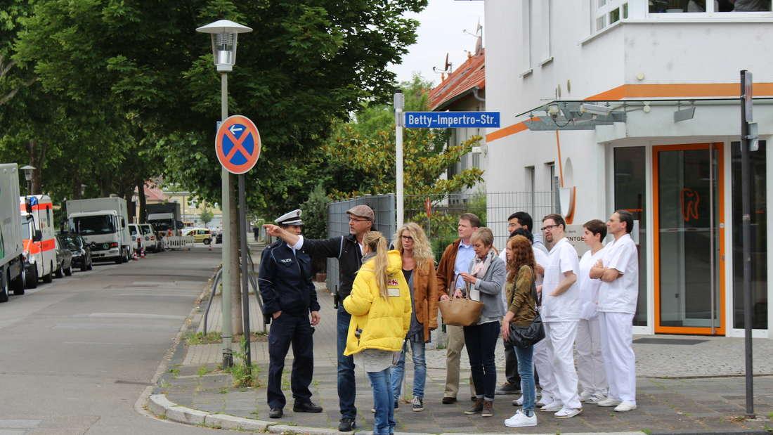 """Die Dreharbeiten zum neuen """"Tatort"""" (""""Du gefällst mir"""") mit Ulrike Folkerts am Ludwigshafener St. Marienkrankenhaus."""