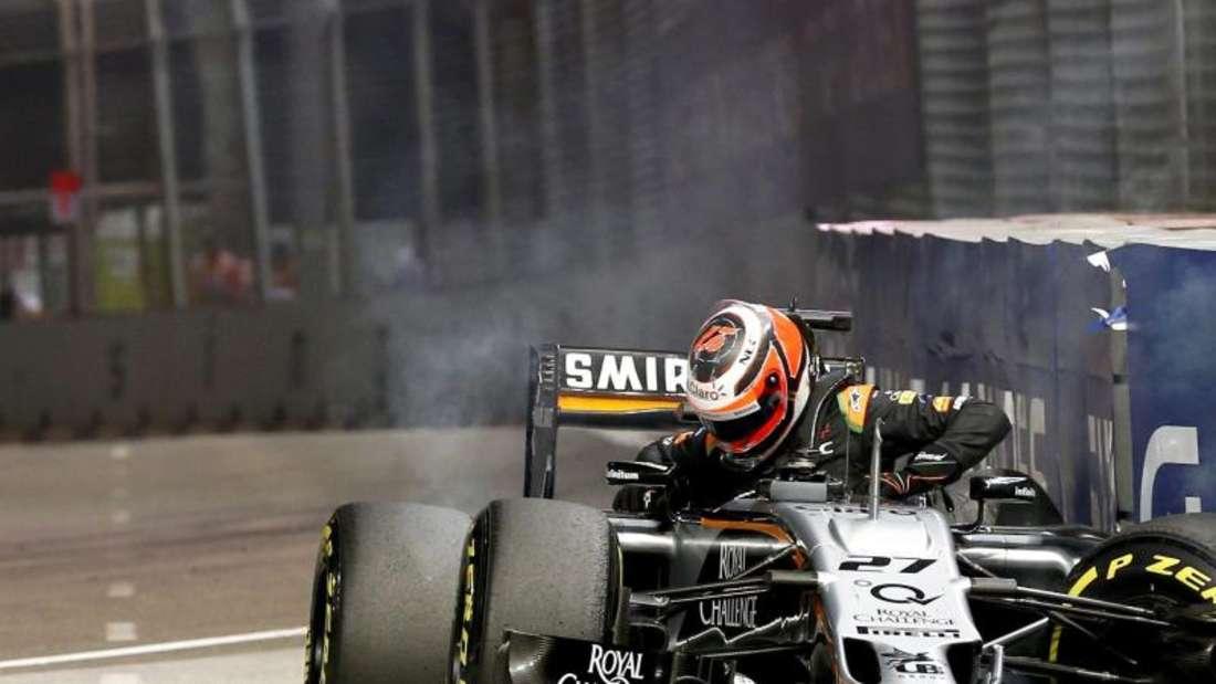 Nico Hülkenberg rutschte mit seinem Force India in die Streckenbegrenzung. Foto: Rungroj Yongrit