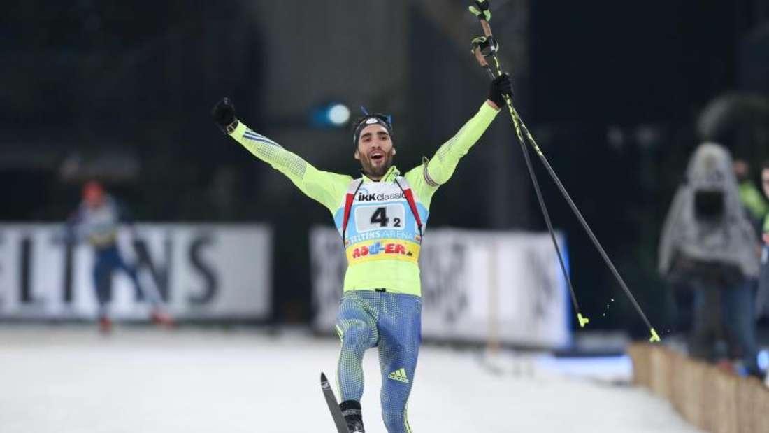 Martin Fourcade gewann an der Seite von Marie Dorin-Habert die 14. Auflage der World Team Challenge. Foto: Friso Gentsch