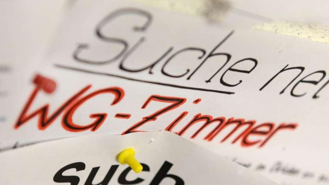 Wohnungsgesuche von Studenten hängen am Schwarzen Brett einer Universität. Foto: Felix Kästle/Illustration
