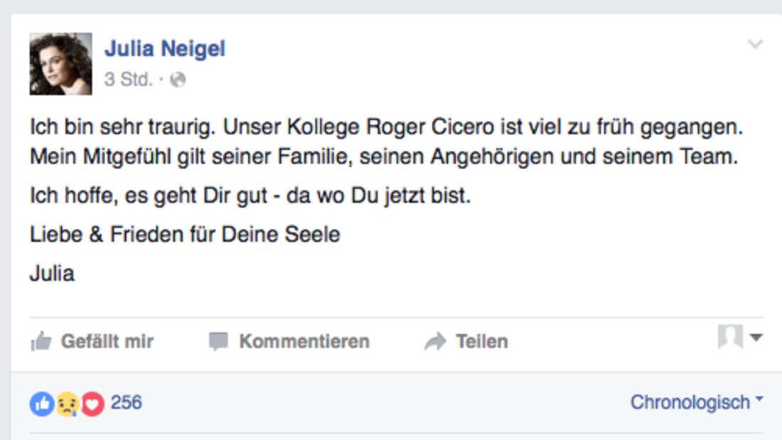 So trauert Julia Neigel bei Facebook.