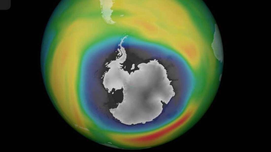 Das Ozonloch über der Antarktis vom 02.10.2015, dargstellt in einerComputergrafik. Das Ozonloch über der Antarktis war zu diesemZeitpunkt so groß wie seit neun Jahren nicht mehr. Foto: DLR