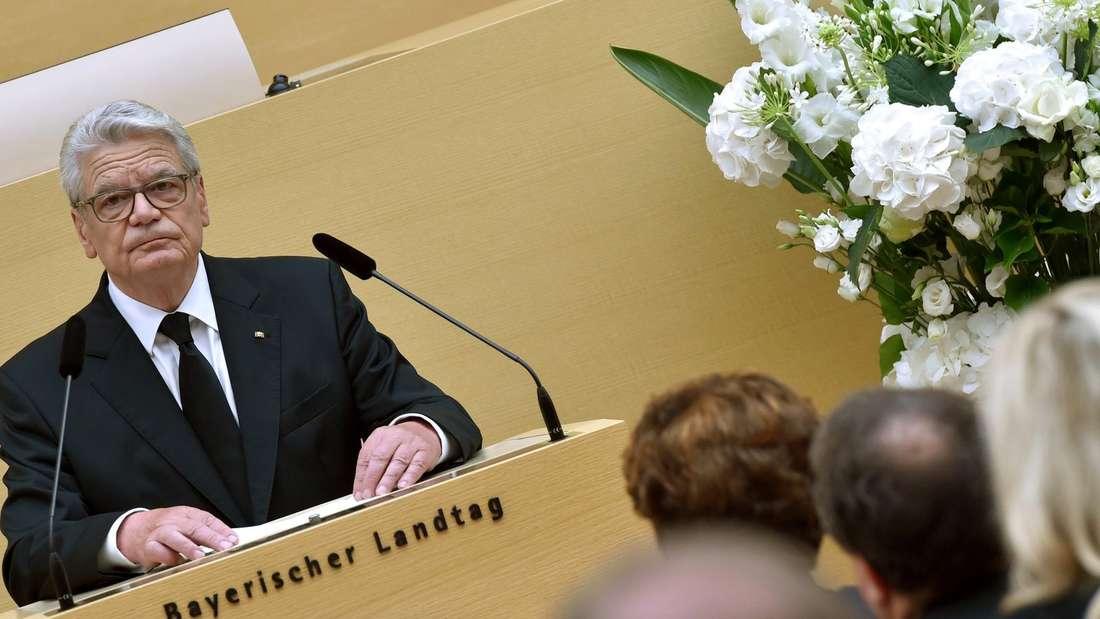 Bundespräsident Joachim Gauck im Bayerischen Landtag.