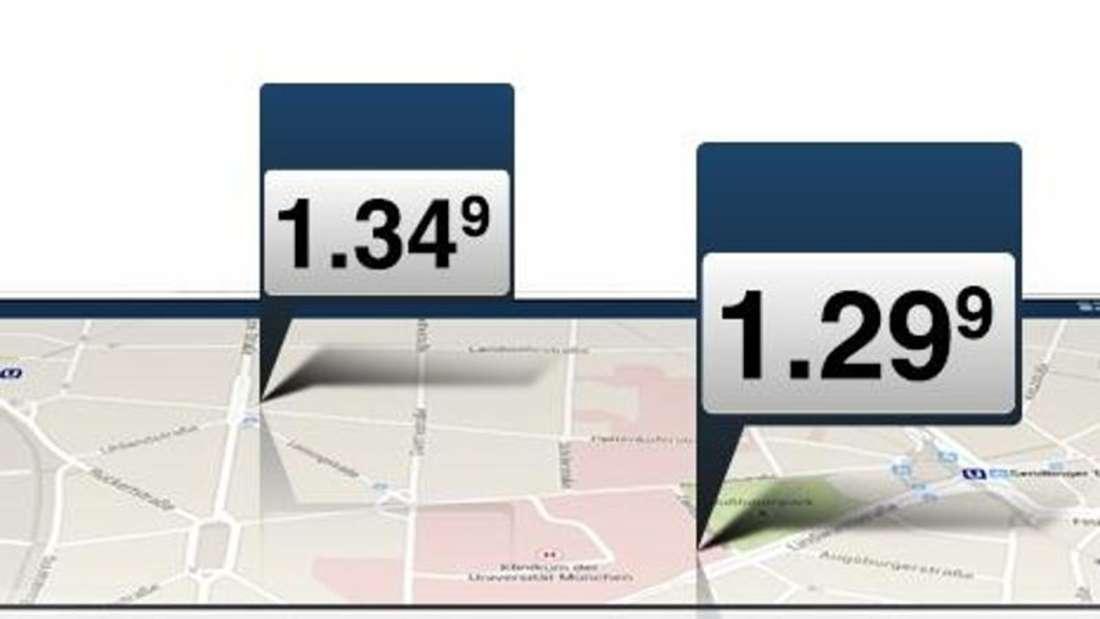 Tank-Apps wie clever-tanken.de zeigen auf einer Karte die günstigsten Benzinpreise im Umkreis an. Foto:clever-tanken.de