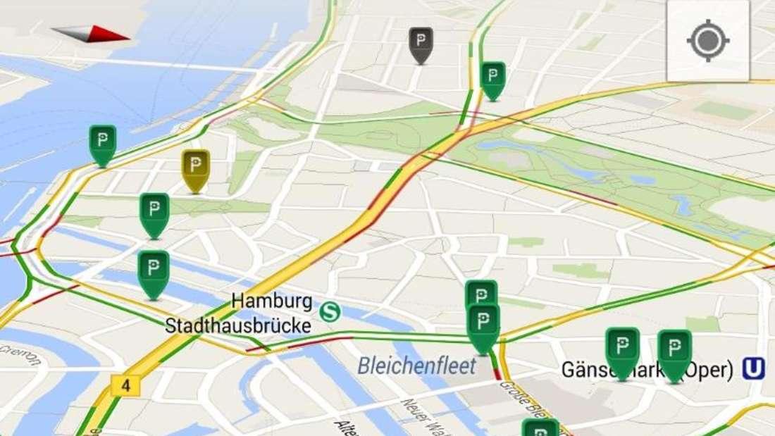 Wo kann ich parken? In größeren Städten helfen Apps wie Parkda bei der Parkplatzsuche. Screenshot:Seewes UG Foto: Seewes UG