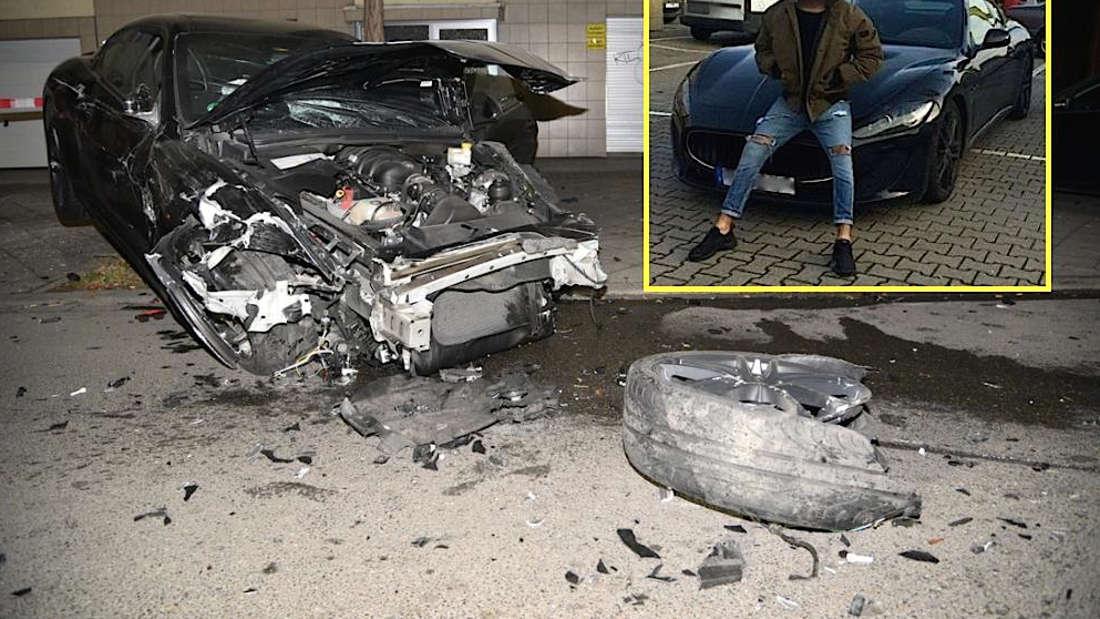Der Maserati vor und nach dem Unfall des 'Posers' (22).