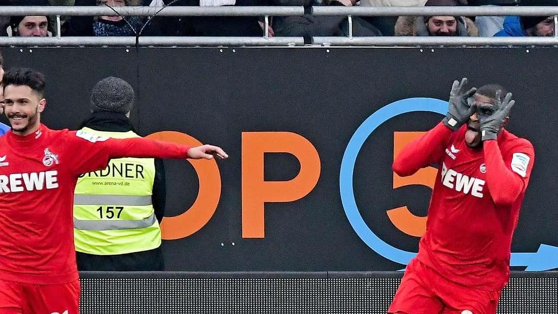 Kölns Modeste dreht jubelnd ab nach seinem Tor gegen Darmstadt 98.