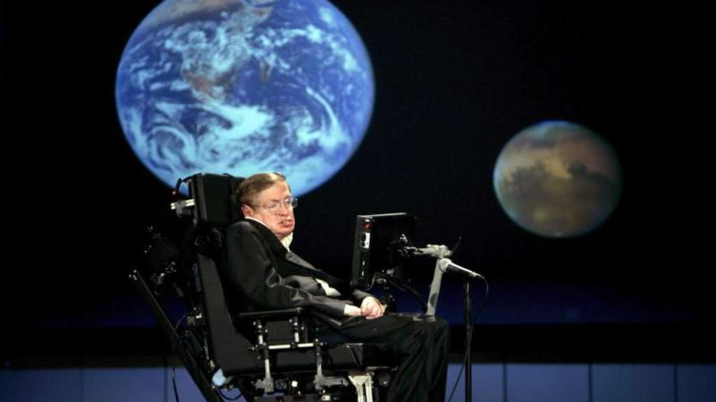 Der britische Physiker Stephen Hawking 2008 an der George Washington University in Washington. Foto: Stefan Zaklin