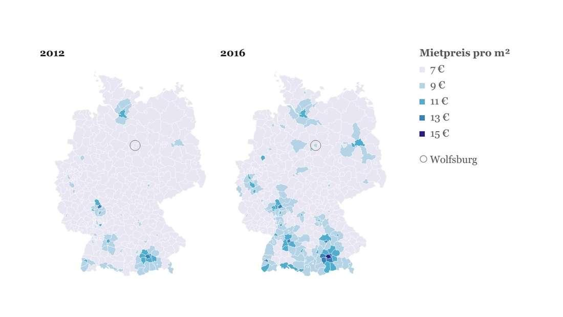 In Wolfsburg sind die Mieten durch den Zuwachs an Einwohnern gestiegen.
