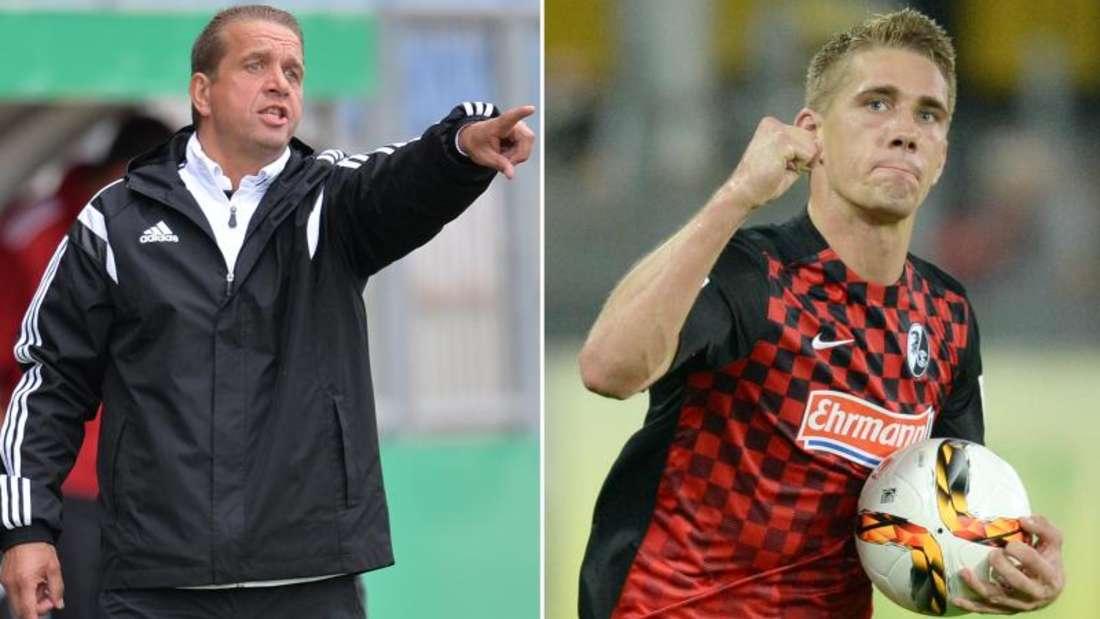 Familientreffen im DFB-Pokal: Trainer Andreas Petersen (l) trifft mit dem BSVRehden auf den SC Freiburg mit Sohn Nils Petersen. Foto: dpa