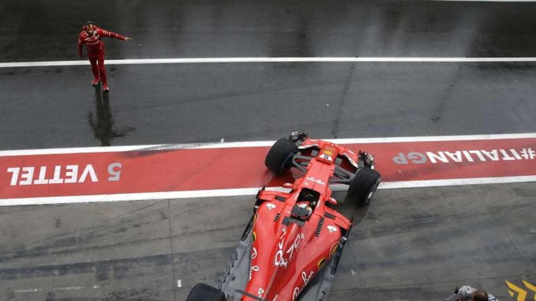 Sebastian Vettel blieb im Abschlusstraining von Monza ohne gezeitete Runde. Foto: Luca Bruno