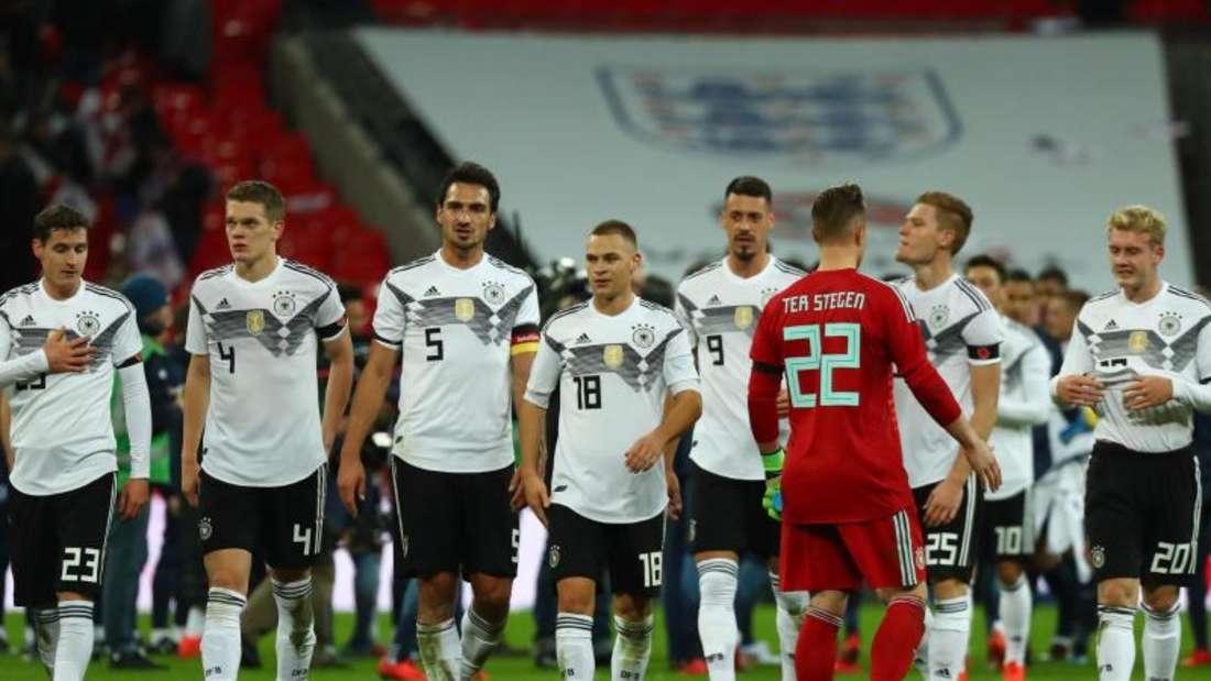Die deutschen Nationalspieler nach dem 0:0 gegen England in Wembley.