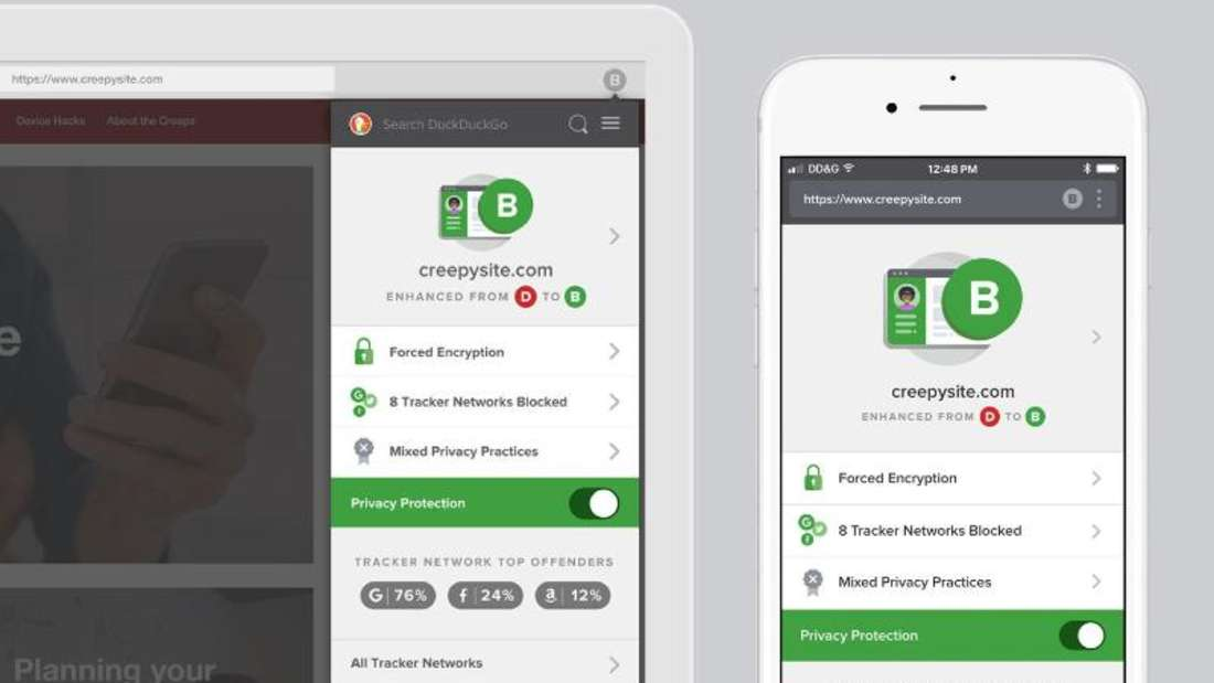 Die anonyme Suchmaschine DuckDuckGo hat ihre Apps und Browser-Erweiterungen überarbeitet. Foto: spreadprivacy.com/privacy-simplified/dpa