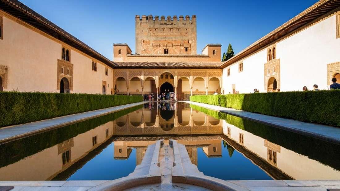 Die Gärten des Palacio de Generalife in Alhambra, Spanien.