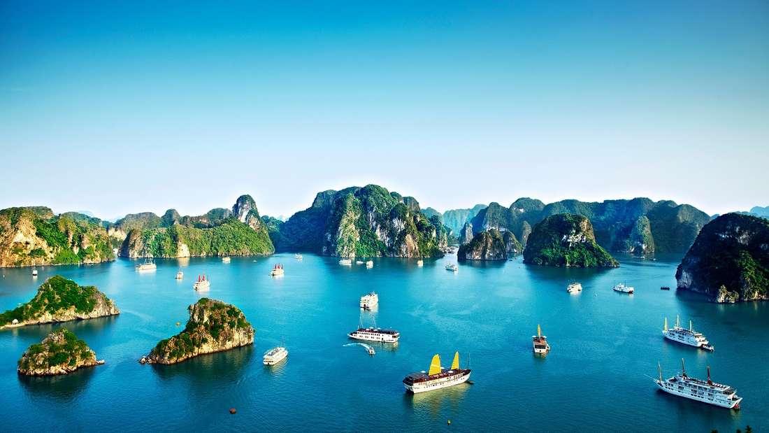 Chinesische Dschunken und Kreuzfahrtschiffe, die durch die Kalksteininseln der Halong-Bucht gleiten.