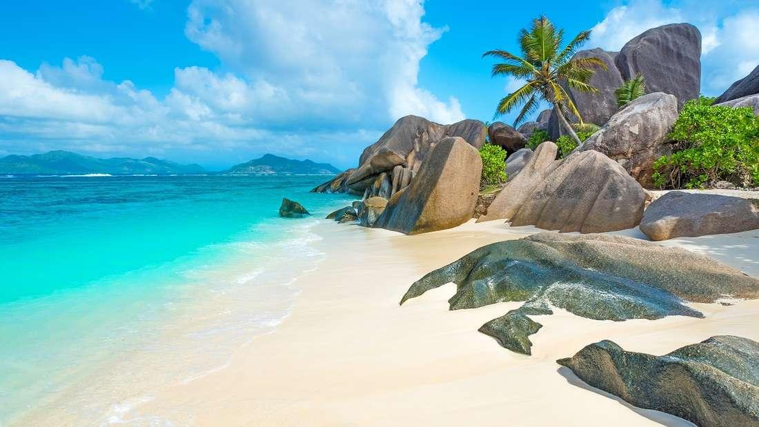 Der Strand Anse Source d'Argent auf den Seychellen.