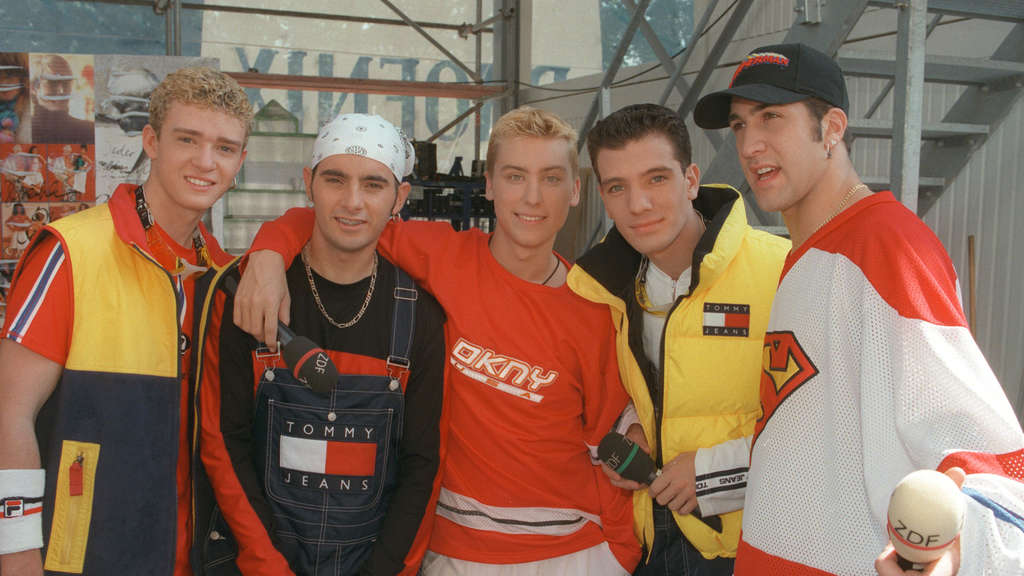 *NSYNC 1997: Justin (links) mit Chris, Lance, J.C. und Joe