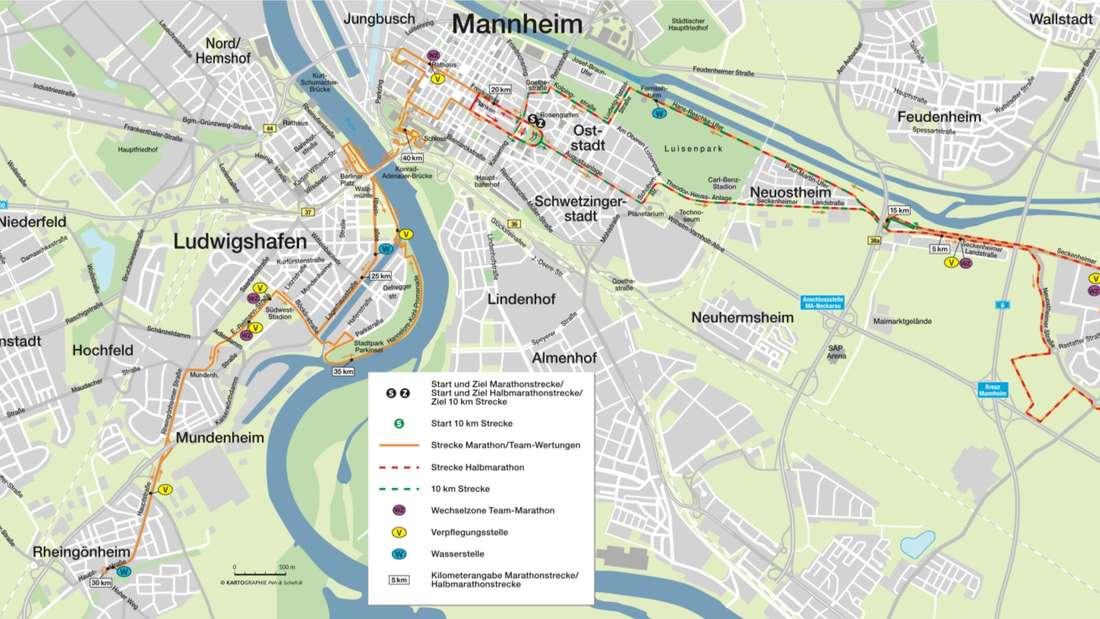 Streckenverlauf SRH Dämmer Marathon 2018