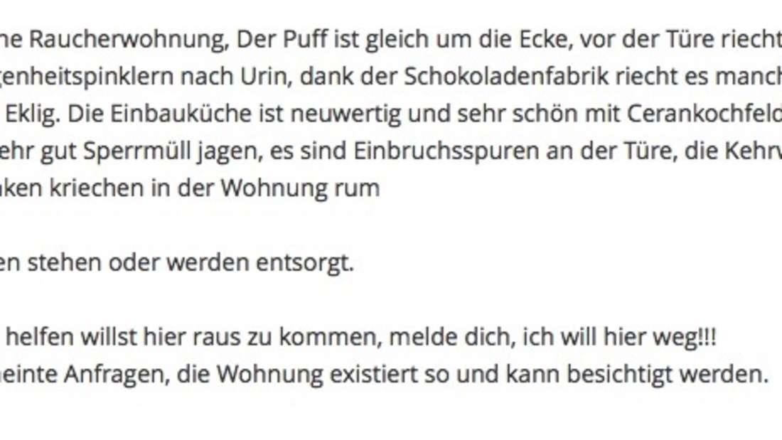 Das ist wohl Mannheims ehrlichste Wohnungsanzeige.