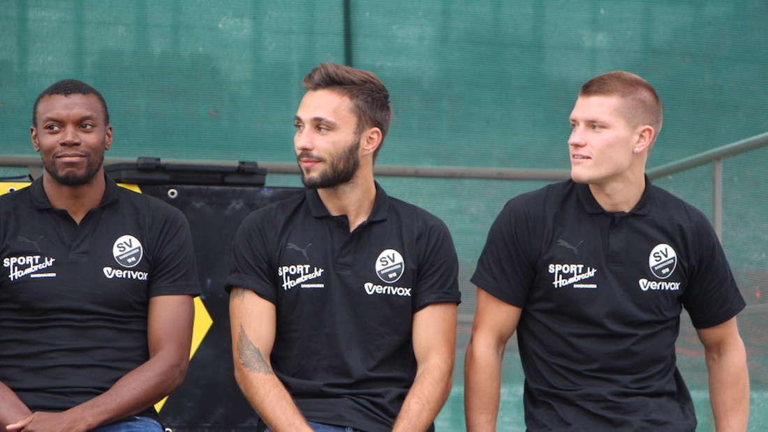Der SV Sandhausen verstärkt mit Karim Guédé, Fabian Schleusener und Kevin Behrens (v.l.) die Offensive für die kommende Saison.