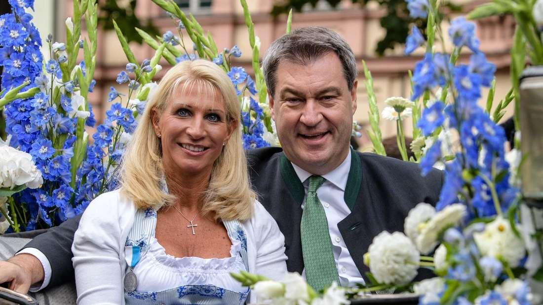 Markus Söder und seine Frau Frau Karin Baumüller-Söder auf dem Oktoberfest 2018.