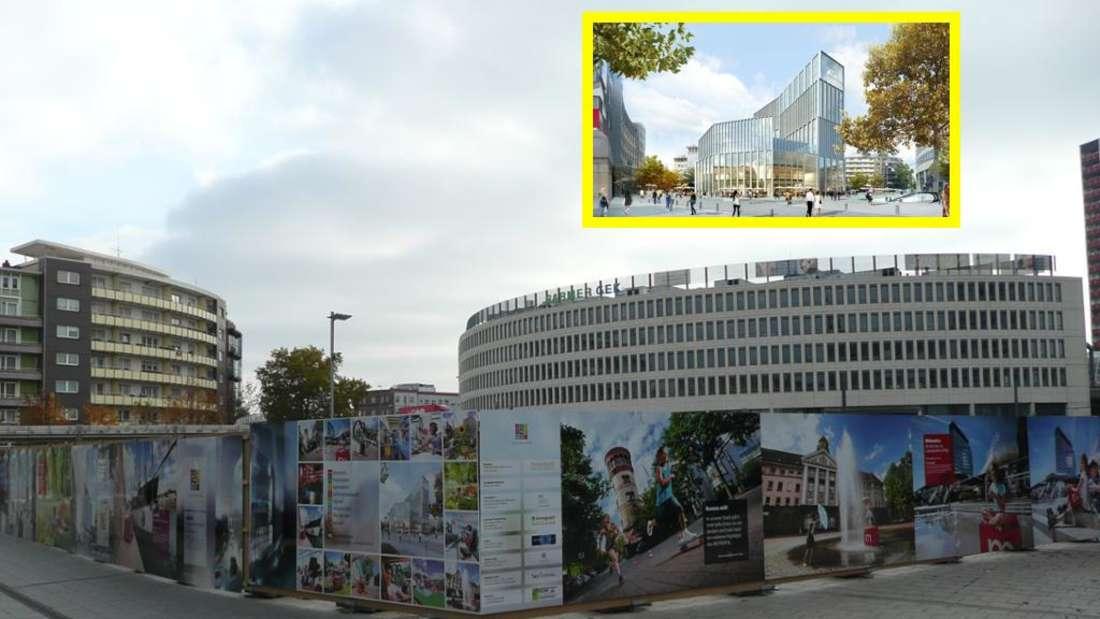Die Baustelle am Berliner Platz und wie es am Ende aussehen soll. (Archifvoto)