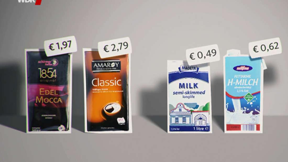 Milch und Kaffee aber auch viele andere Produkte sind bei Mere günstiger als bei Aldi.