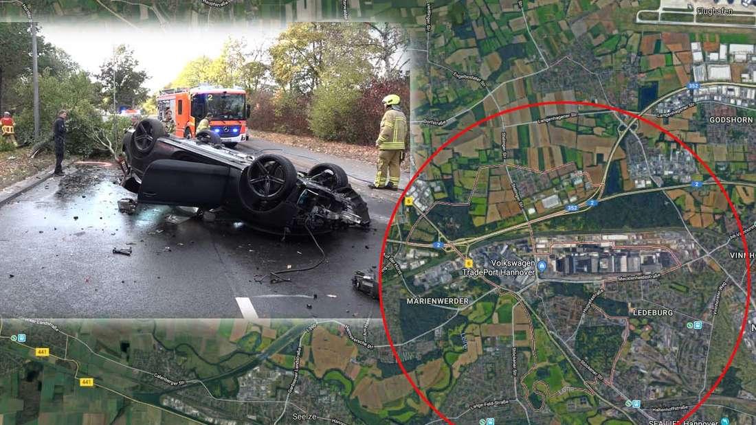 Zu einem spektakulären Unfall kam es in Hannover-Stücken, als ein Audi S5 von der Fahrbahn abkam, Bäume umriss und anschließend Feuer fing.