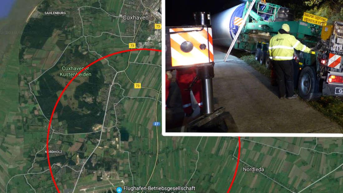Cuxhaven: Die Autobahn A27 ist zwischen Altenwalde und Nordholz Richtung Bremen gesperrt - Unfall mit Schwertransporter.