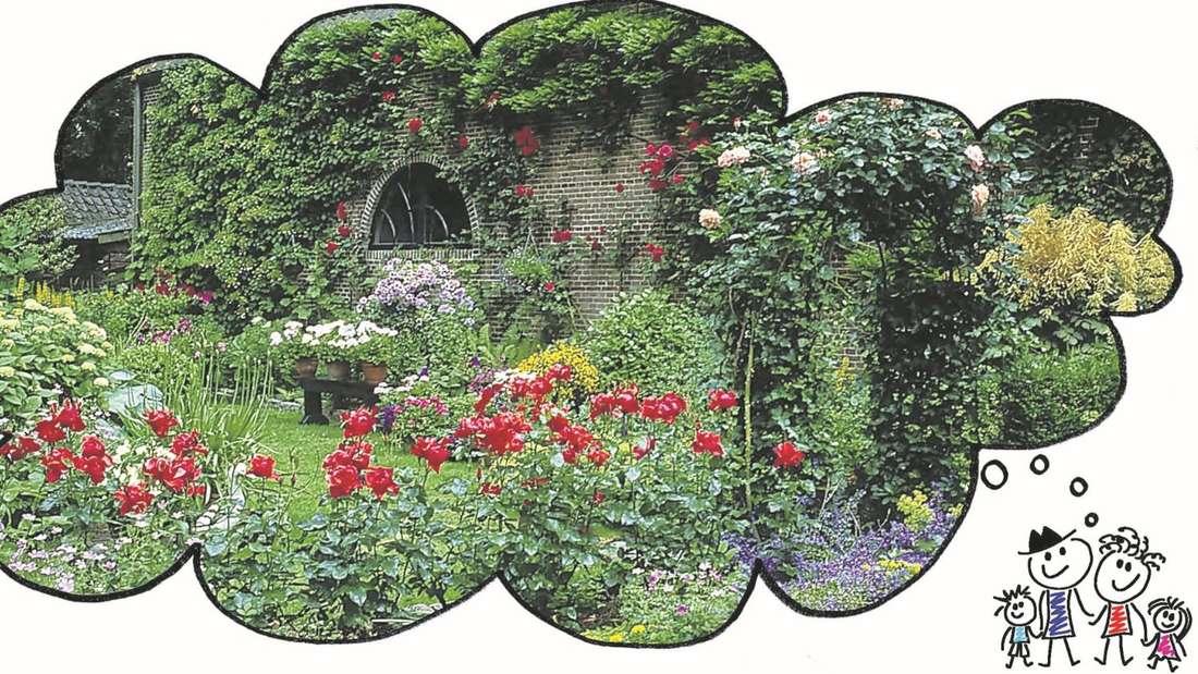 Grünes Paradies: Solch einen Garten im englischen Cottage-Stil wünschen sich viele Menschen. Damit das erste grüne Reich gelingt, brauchen vor allem Anfänger einen guten Plan, damit sie nicht die Lust am Gärtnern verlieren, noch ehe die Lieblingsblume angewurzelt ist. Insbesondere jetzt im Herbst und Winter kann man die Zeit wunderbar nutzen, um sich Pläne für die Gestaltung zu machen.