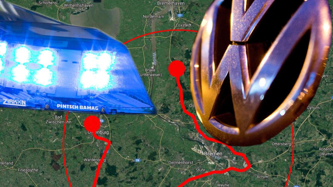 Eine filmreife Verfolgungsjagd über Bremen und Oldenburg entwickelte sich, als die Polizei einen Schlafenden in einem VW Touran kontrollierte.