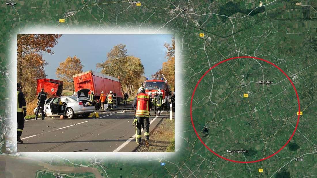Ein tödlicher Domino-Unfall ereignete sich auf der Auricher Landstraße bei Wilhelmshaven, als ein VW Caddy frontal in einen Audi raste, der dann gegen einen LKW prallte.