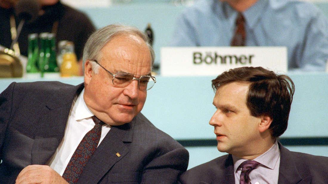 Günther Krause 1991 mit Kanzler Helmut Kohl.
