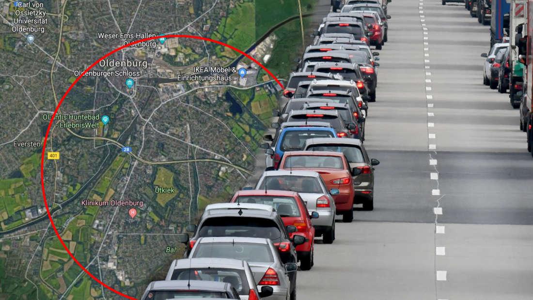Oldenburg/Niedersachsen: Dreister Mercedes-Fahrer nutzt Rettungsgasse auf Autobahn A28.