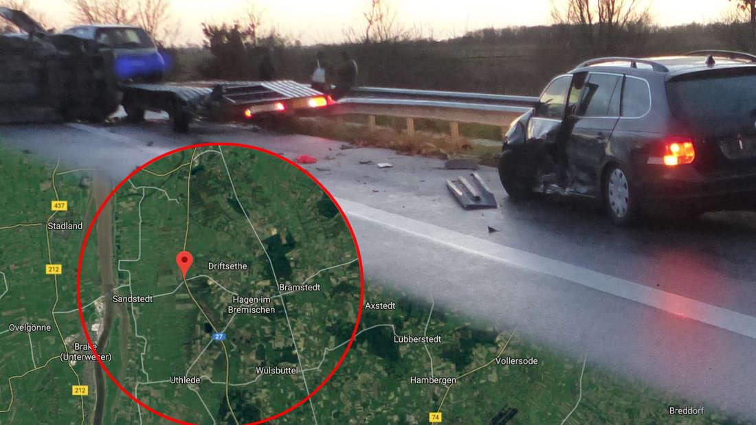 Bremen/Bremerhaven: Unfall auf A27 mit Mercedes Sprinter und VW Golf - Mann wird durch die Luft geschleudert.