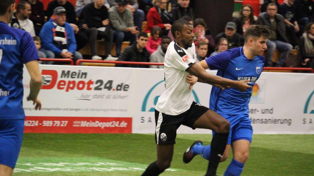 KarimGuédé (l.) steht mit dem SV Sandhausen mühelos im Viertelfinale.
