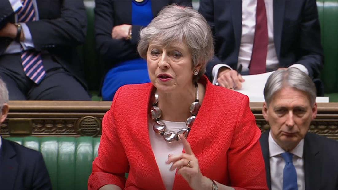 Brexit:Theresa May am Dienstag bei ihrer Rede im britischen Unterhaus.