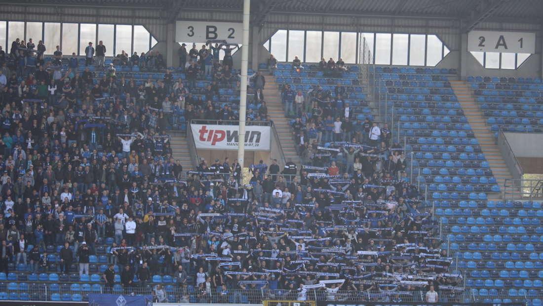 Die Waldhof-Fans beim Heimsieg gegen den VfB Stuttgart II.