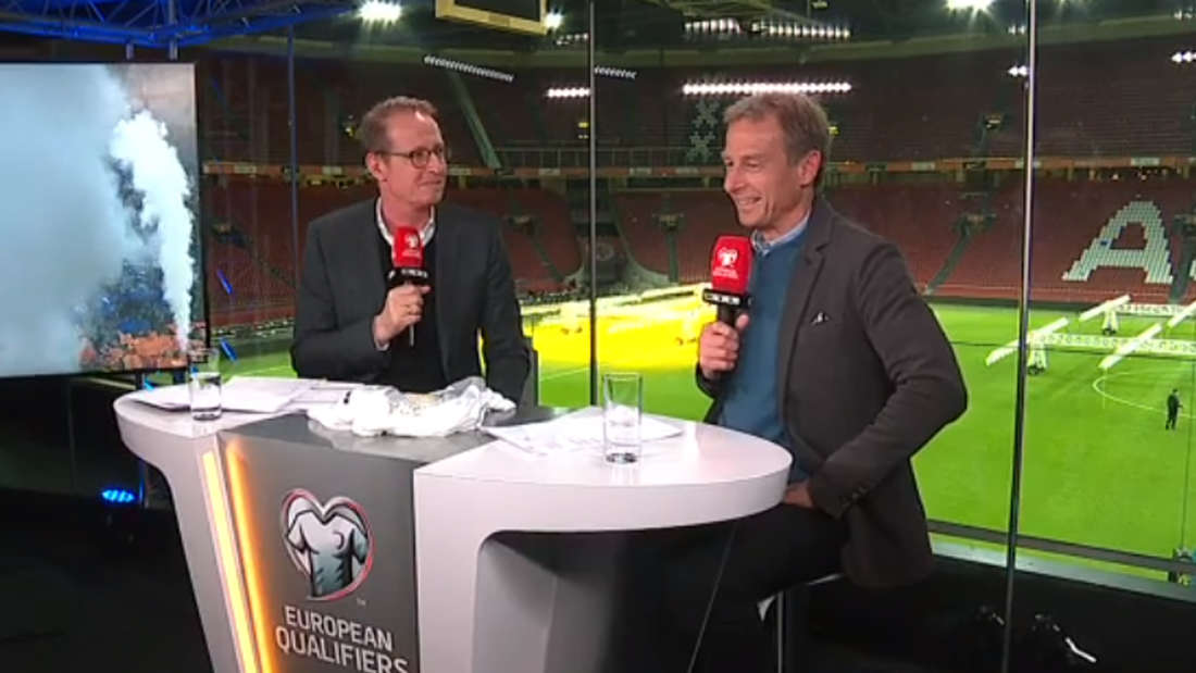 Bemerkte den Fehler sofort: Der neue RTL-Länderspielexperte Jürgen Klinsmann mit Moderator Florian König.