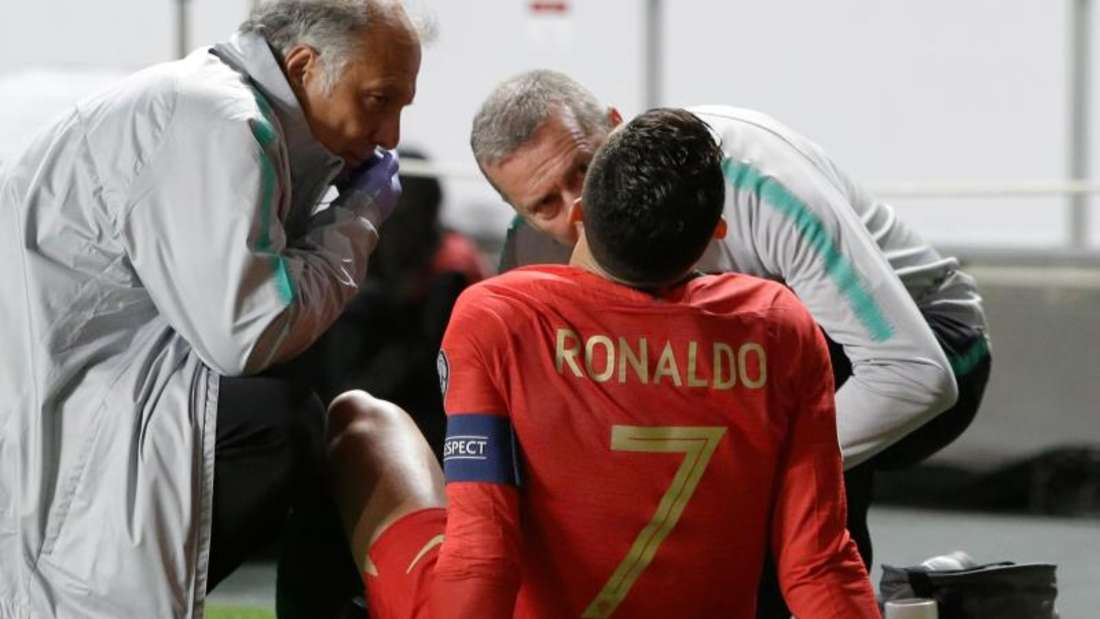 Cristiano Ronaldo verletzte sich gegen Serbien. Foto: Armando Franca/AP