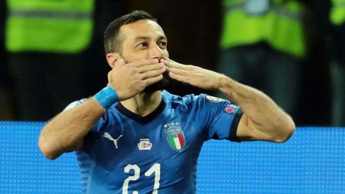 Italiens Stürmer Fabio Quagliarella erzielte zwei Tore gegen Liechtenstein. Foto: Serena Campanini/ANSA